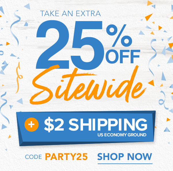 25% Off Sitewide + $2 Economy Shipping With Code PARTY25